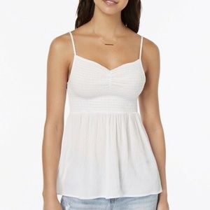 Almost Famous Tank Top Juniors Smocked Top White